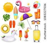 realistic 3d vector summer... | Shutterstock .eps vector #1083227036