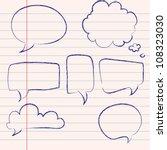 set of hand drawn speech and...   Shutterstock .eps vector #108323030