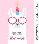 cute fluffy unicorn llama ... | Shutterstock .eps vector #1083236189