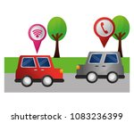 red and gray cars on street... | Shutterstock .eps vector #1083236399