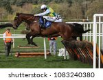 Small photo of Langness (IRE) ridden by Jonathan Burke jumps the last fence at Market Rasen Racecourse : Market Rasen, Lincs, UK : 22 April 2018