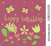 cute floral card design. vector ... | Shutterstock .eps vector #108324320
