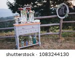 cakes  sweets and drinks stand... | Shutterstock . vector #1083244130