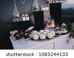 cakes  sweets and drinks stand... | Shutterstock . vector #1083244133