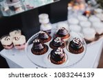 cakes  sweets and drinks stand... | Shutterstock . vector #1083244139