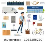 postal delivery service cartoon ... | Shutterstock .eps vector #1083255230