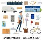 postal delivery service cartoon ... | Shutterstock .eps vector #1083255230