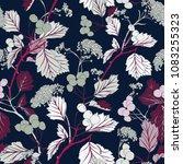 mint leaf vintage seamless blue ... | Shutterstock .eps vector #1083255323