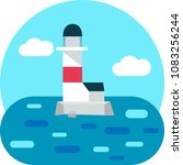 light house icon on white... | Shutterstock .eps vector #1083256244