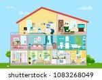 house with furnishings. eight... | Shutterstock .eps vector #1083268049