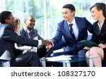 two business man shaking hands... | Shutterstock . vector #108327170