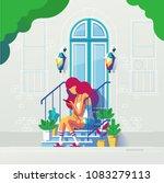 girl on her smartphone sitting... | Shutterstock .eps vector #1083279113