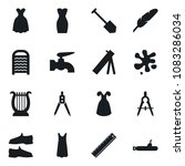 Small photo of Set of simple vector isolated icons water tap vector, splotch, washboard, man shoes, dress, job, pen, ruler, drawing compass, harp, army mortar, submarine