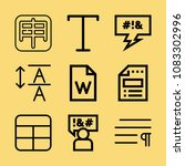 set of 9 word outline icons... | Shutterstock .eps vector #1083302996