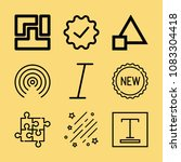 set of 9 shapes outline icons... | Shutterstock .eps vector #1083304418