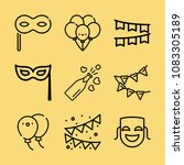 set of 9 party outline icons... | Shutterstock . vector #1083305189
