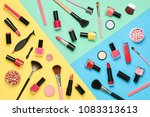 Fashion Cosmetic Makeup Set. Collection Beauty Products Accessories. Essentials. Layout. Trendy Design. Lipstick Brushes Eyeshadow. Creative Bright Color. Art Concept Style. Flat lay. - stock photo