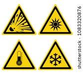hazard warning set triangular...   Shutterstock .eps vector #1083320876