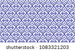 seamless thai pattern  blue and ... | Shutterstock .eps vector #1083321203