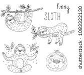 Vector Set Of Cute Sloths....