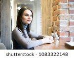 beautiful young brunette woman...   Shutterstock . vector #1083322148