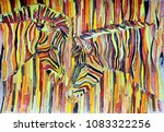 Stock photo striped zebras in savannah gouache on paper naive art abstract art painting gouache color 1083322256