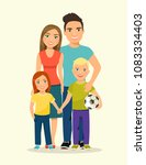 mother and father with children.... | Shutterstock .eps vector #1083334403