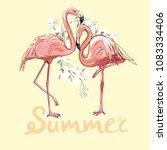 pink flamingo vector...   Shutterstock .eps vector #1083334406