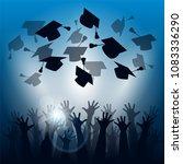 happy students throwing...   Shutterstock .eps vector #1083336290
