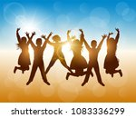 silhouettes of happy people... | Shutterstock .eps vector #1083336299