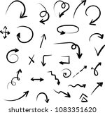 set of black hand drawn arrows... | Shutterstock .eps vector #1083351620