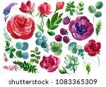 set of flowers  watercolor... | Shutterstock . vector #1083365309