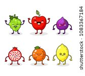 cartoon funny fruits characters.... | Shutterstock .eps vector #1083367184
