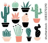 cactus and succulents set  cute ... | Shutterstock .eps vector #1083370190