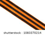 Small photo of Orange black ribbon placed diagonally on a white background