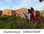 clothes hang on a washing line... | Shutterstock . vector #1083373049