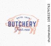 retro print effect butchery.... | Shutterstock . vector #1083379763