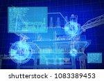 3d rendering   blue screen oil... | Shutterstock . vector #1083389453
