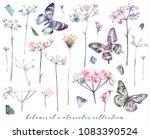 watercolor floral elements big...   Shutterstock . vector #1083390524