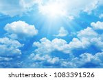 beautiful blue sky with sun for ... | Shutterstock . vector #1083391526
