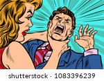 woman strangling man. female... | Shutterstock .eps vector #1083396239