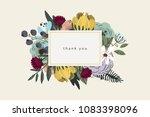 thank you card bouquet on beige ...   Shutterstock .eps vector #1083398096