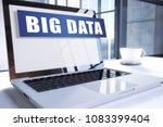big data text on modern laptop... | Shutterstock . vector #1083399404