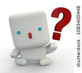 Robo and question mark. 3D rendering. - stock photo