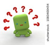 Green robo and question mark. 3D rendering. - stock photo
