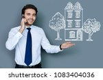 cheerful realtor. friendly... | Shutterstock . vector #1083404036