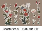 sticker poppy flower on brown... | Shutterstock .eps vector #1083405749