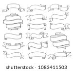 vintage ribbons sketch. banners ... | Shutterstock .eps vector #1083411503