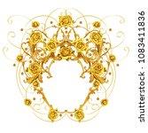 golden arabesque with roses   Shutterstock . vector #1083411836
