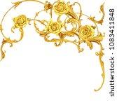golden arabesque with roses | Shutterstock . vector #1083411848